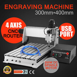 Usb Cnc Router Engraver Engraving Cutter 4 Axis 3040t Woodworking Crafts Milling