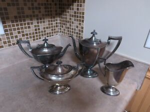 Vintage Barbour Covered Tea Coffee Set W Covered Sug Bowlar Creamer Ex Cond