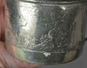 Baby Cup Silver Child Mug Forbes Silver Plate Victorian Cows Girl Dog Antique