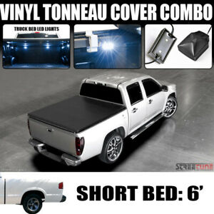 Hidden Snap Tonneau Cover White Led Lights 94 03 Chevy S10 Gmc Sonoma 6 Ft Bed