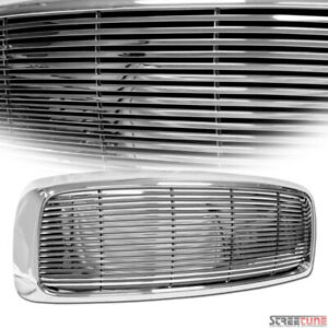 For 02 05 Dodge Ram 1500 2500 Chrome Horizontal Billet Front Bumper Grill Grille