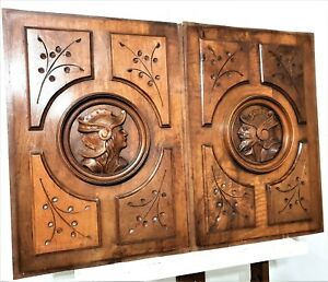Gothic Warrior Figure Panel Antique French Wood Carving Architectural Salvage