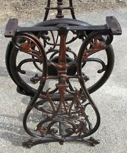Antique Willcox Gibbs Cast Iron Treadle Base Copper Bronze Accents