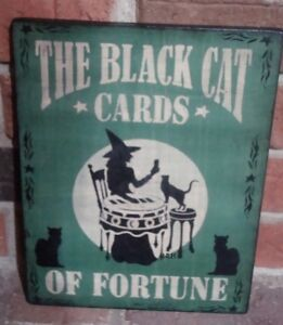 Primitive Halloween Sign The Black Cat Cards Of Fortune Handpainted Pine Green
