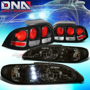 For 94 98 Ford Mustang Gt Smoked 1pc Headlight Led Drl Black Altezza Tail Lamp