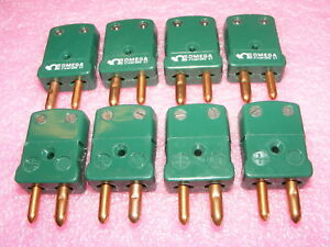 8 New Omega Type R s Green Thermocouple Connectors Standard Size Round Pins Male