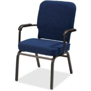 Lorell Fixed Arms Fabric Oversized Stack Chairs Fabric Navy Seat Fabric Navy