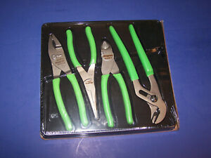 New Snap On 4 Pc Green Pliers Cutters Set Pl400bg 47acf 91acp 96acf 87acf