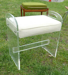 Vintage Retro Clear Lucite Upholstered Vanity Stool Piano Bench Chair