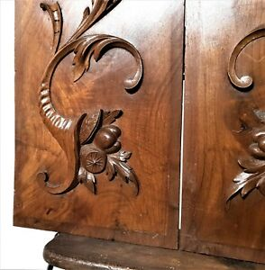 Pair Cornucopia Scroll Leaves Panel Antique French Walnut Architectural Salvage