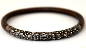 Antique Chinese Sterling Silver And Bamboo Floral Bracelet Bangle