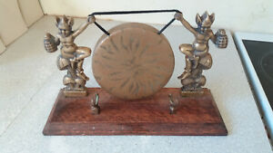 Lovely Vintage Brass Dinner Gong Pair Pixies Wooden Stand