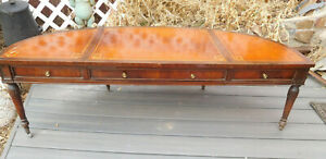 Stunning Mid Century Leather Top Imperial Solid Mahogany Coffee Table To Restore