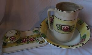 Antique Pitcher And Wash Bowl Set Tray Soap Trinket Dish Floral Rare