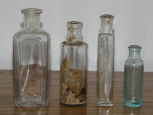 Antique Apothecary Bottles Lot Of 4