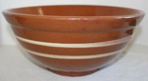 Antique American Redware Bowl 1800 S Double Slip Decorated Bands Rare 13 25 Sz