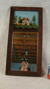 Antique 19c Reverse Painted Figured Mahogany Wall Mirror