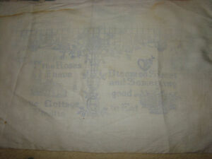 Rare 1890 Old Antique Embroidery Un Bleach Linen Pillow To Finished English