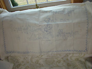 Rare 1890 Old Antique Embroidery Un Bleach Linen Pillow To Finished Old German
