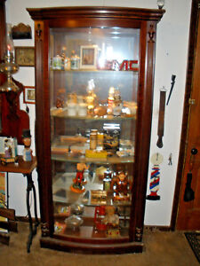 Antique Curio China Showcase Or Barber Shop Display Cabinet