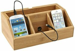 Mind Reader Bamboo Charging Station Desk Supplies brown Cell Phone Stand