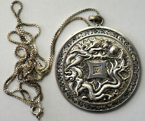Antique Chinese Sterling Silver Dragon Filigree Pendant Necklace