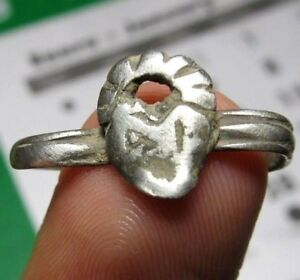 Antique Spanish Ancient Medieval Silver Ring Jesus Heart Pirate Times 15 16th C
