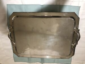 Vintage 1951 Wilcox Silver Plated Serving Tray With Bilateral Raised Edges