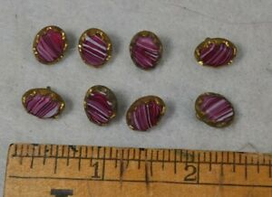 Antique Sewing Button Oval Pink Stone Brass Frame Loop Shank Lot 8 Matching Vg