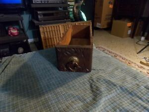 Antique Sewing Machine Wood Drawer Swag Catcher W Carved Front Vg