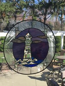 Beautiful Lighthouse Waves Bevel Cluster Stained Glass Window Round 20 Diam