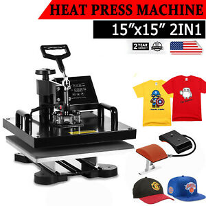 Digital 2in1 Combo T shirt Heat Press Transfer Machine Cap Swing Away 15 x15