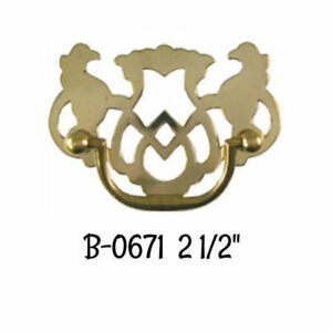 2 1 2 Stamped Brass Chippendale Style Drawer Pull Antique Furniture Vintage Old