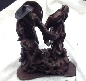 Antique Rosewood Chinese Carved Figurine Figural Group Wood Figure