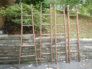 Vintage Rare Wood 4 Section Rustic Window Washer Library Loft Ladder