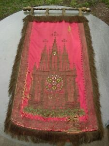 19th Century Antique Silk Goldwork Embroidery Tapestry 44 X 26 Gothic Church