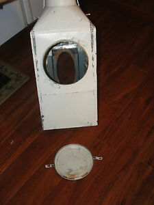 Hoosier Metal Flour Cabinet Bin Old Vintage White Tall Large Window