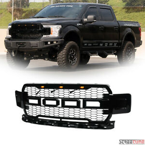 For 2018 2019 Ford F150 Black Raptor Style Honeycomb Mesh Front Grille Amber Led