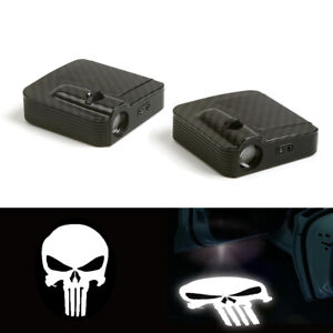 2x Punisher Logo Wireless Car Led Door Courtesy Ghost Projector Welcome Light