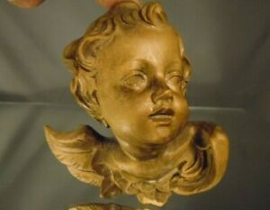 Vintage Carved Angel Wooden Cherub Italian Hanging Wall Mount Putti