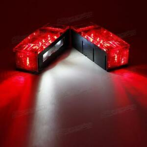 Left Right Screws Led Submersible Red Trailer Rectangle Stop Turn Tail Light Dot