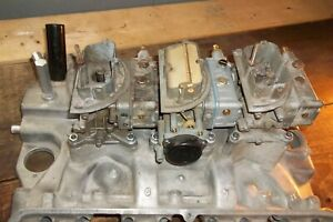 1961 1963 Ford Galaxie Fe 406 Tri Power Intake Manifold With Carburetors