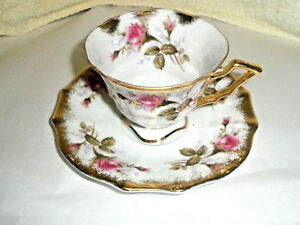 Vintage Sealy Royal China Cup Saucer Japan Roses Gold Trim