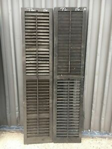 Pair Victorian Louvered House Window Shutters Brown Paint Surface 72 H X 16 W A