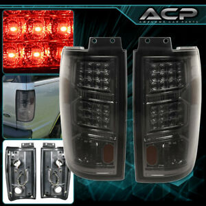 Chrome Housing Smoke Lens Led Tail Lights Lamps For 97 02 Ford Expedition