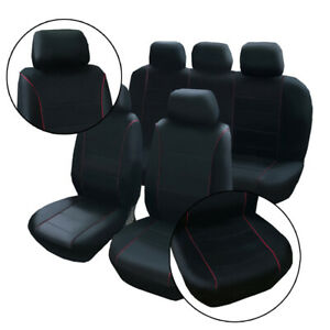 For Universal Truck Suv Van 5 Seats Car Seat Covers Black Pu Leather 9pcs Set