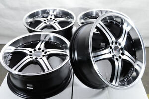 17x7 5 5x100 5x114 3 Black Wheels Fits Civic Scion Tc Xb Xa Elantra 5 Lug Rims