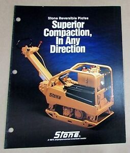 1988 Stone Construction Equipment Reversible Plate Compactor Brochure Free S h