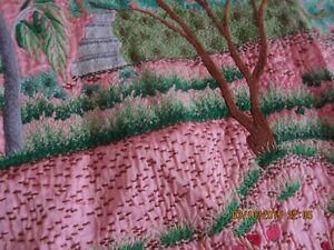 Vintage Asian Chinese Silk Satin Quilt Hand Embroidered 65 X 80 No Stains Euc