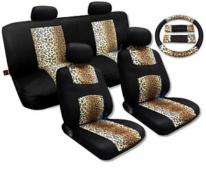 Cool Fur Print Tan Leopard Black Knit Mesh Cool Breeze Animal Print Seat